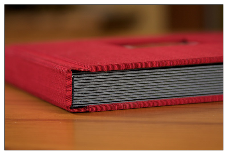 wedding album binding, red silk