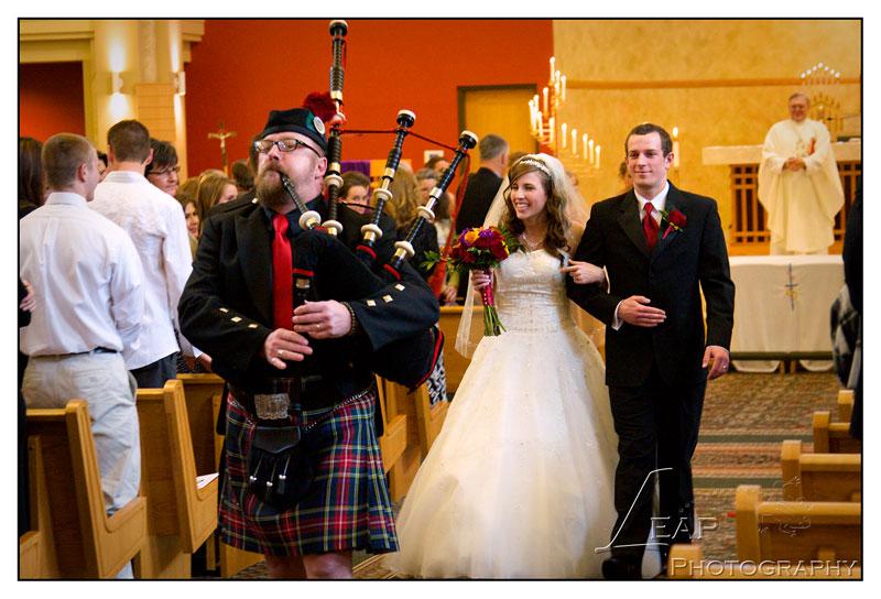 bagpipes at Catholic wedding
