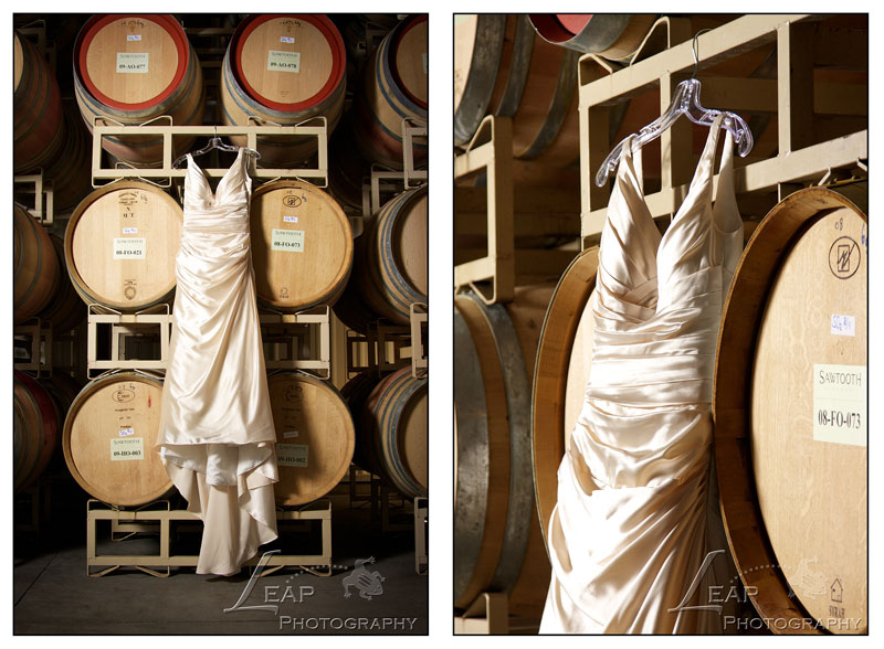 bridal gown in barrel room