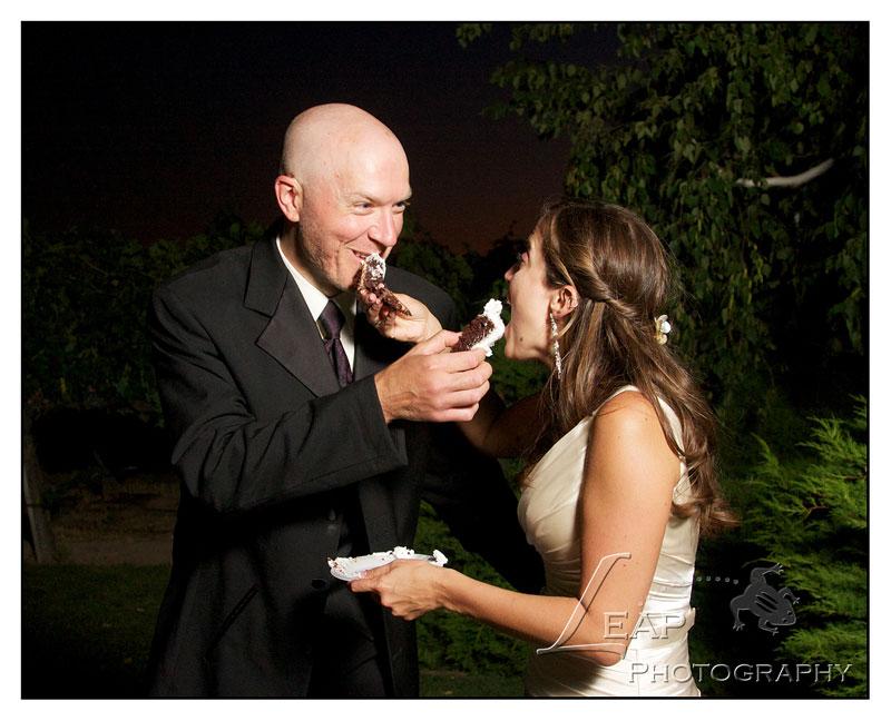 cake cutting at Idaho wedding