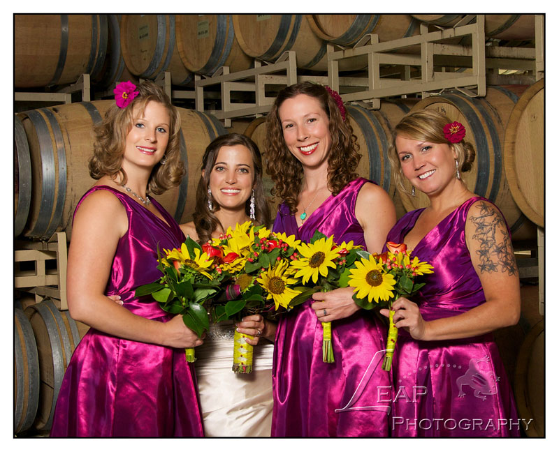 bridesmaids group photo in winery