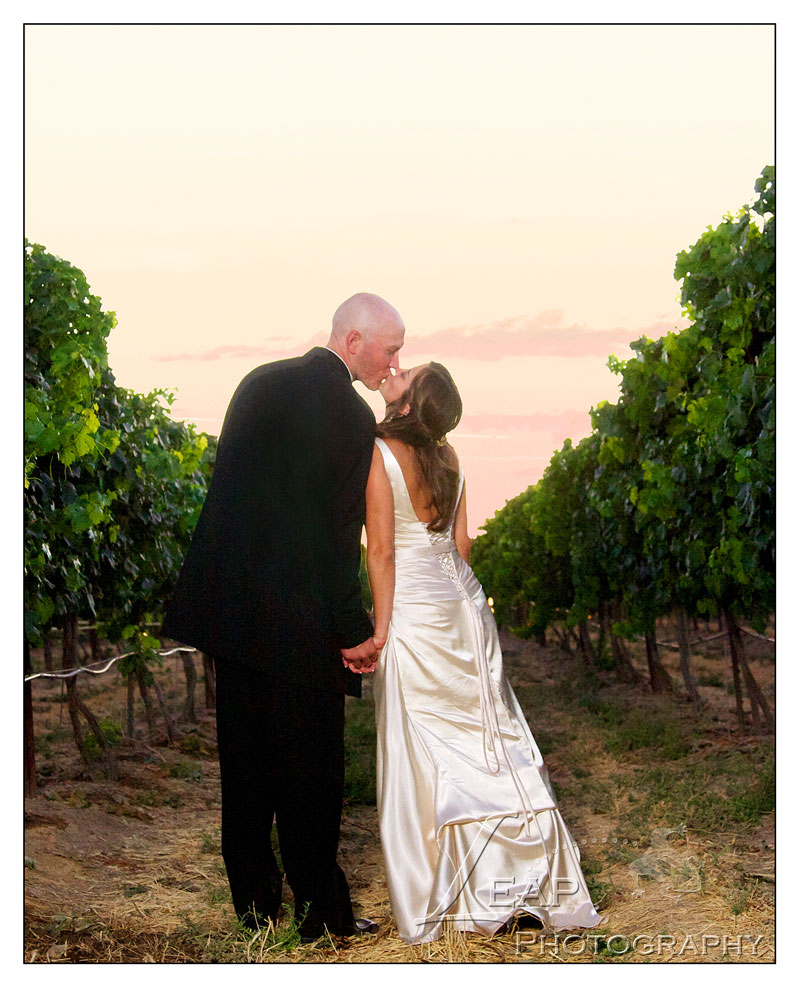 wedding picture with sunset in background