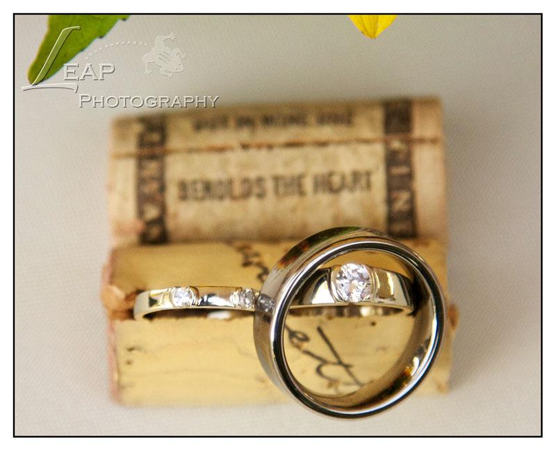 wedding rings in wine cork