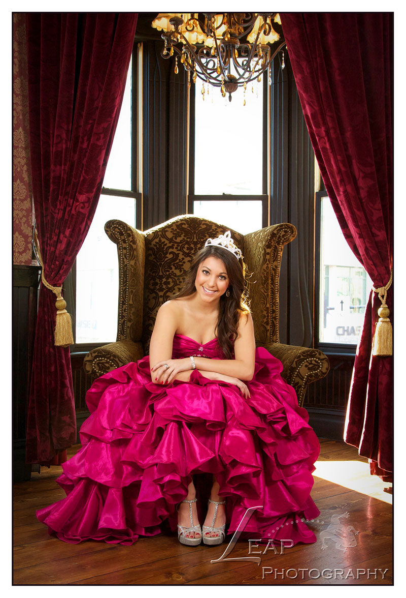 quinceanera photo of girl sitting in chair