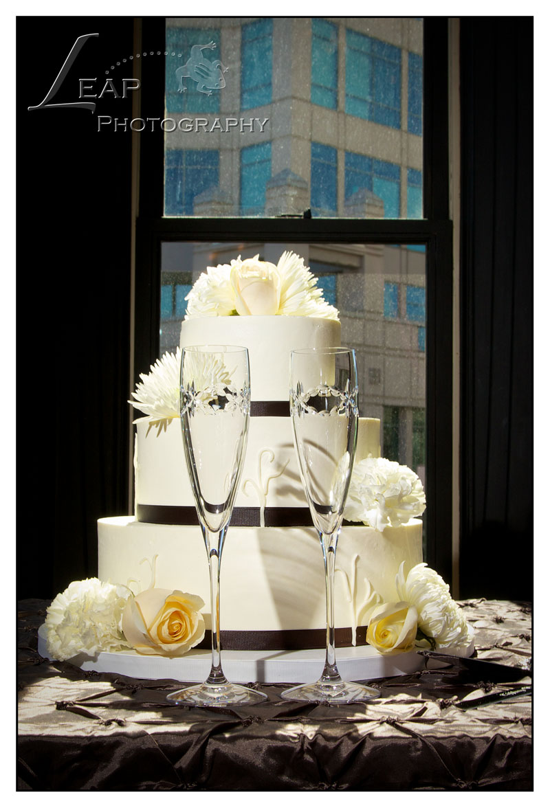wedding cake and champagne glasses