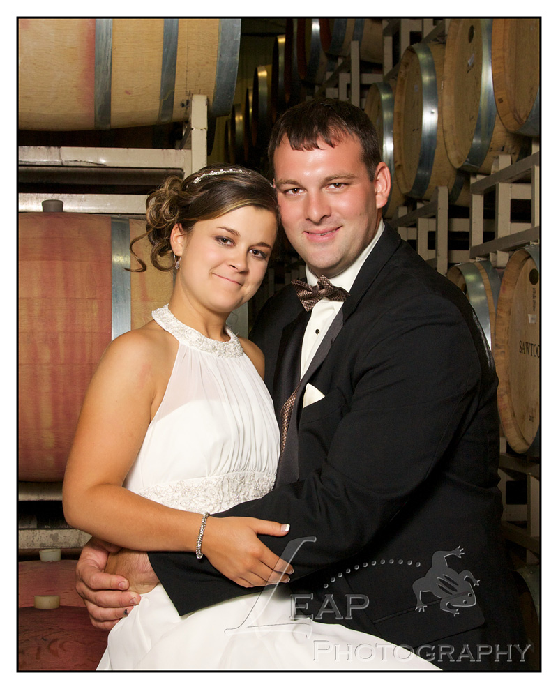 Winery Wedding Photo in barrel room