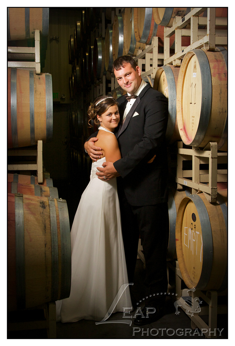 bridal portrait inside barrel room