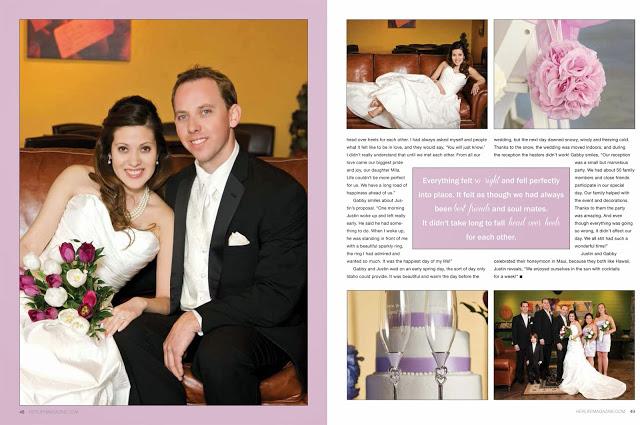 wedding portraits in magazine spread