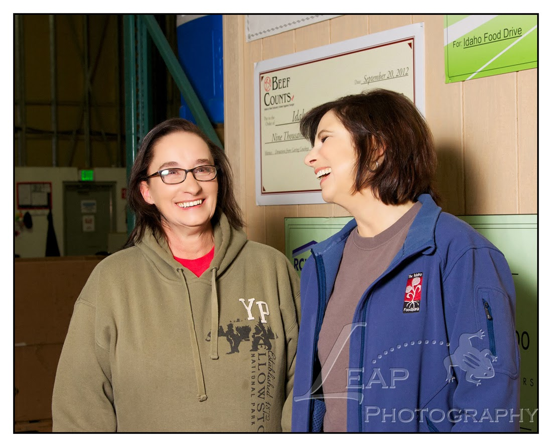 Terri Tate and fellow Idaho foodbank employee laughing
