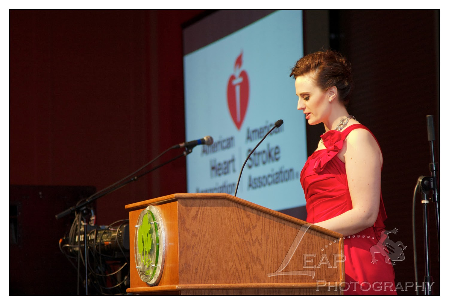 Jessica Budzianowski speaking at heart ball