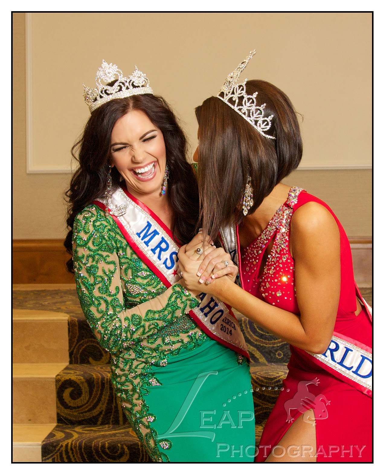 Mrs. Idaho & Mrs. World 2014 laughing