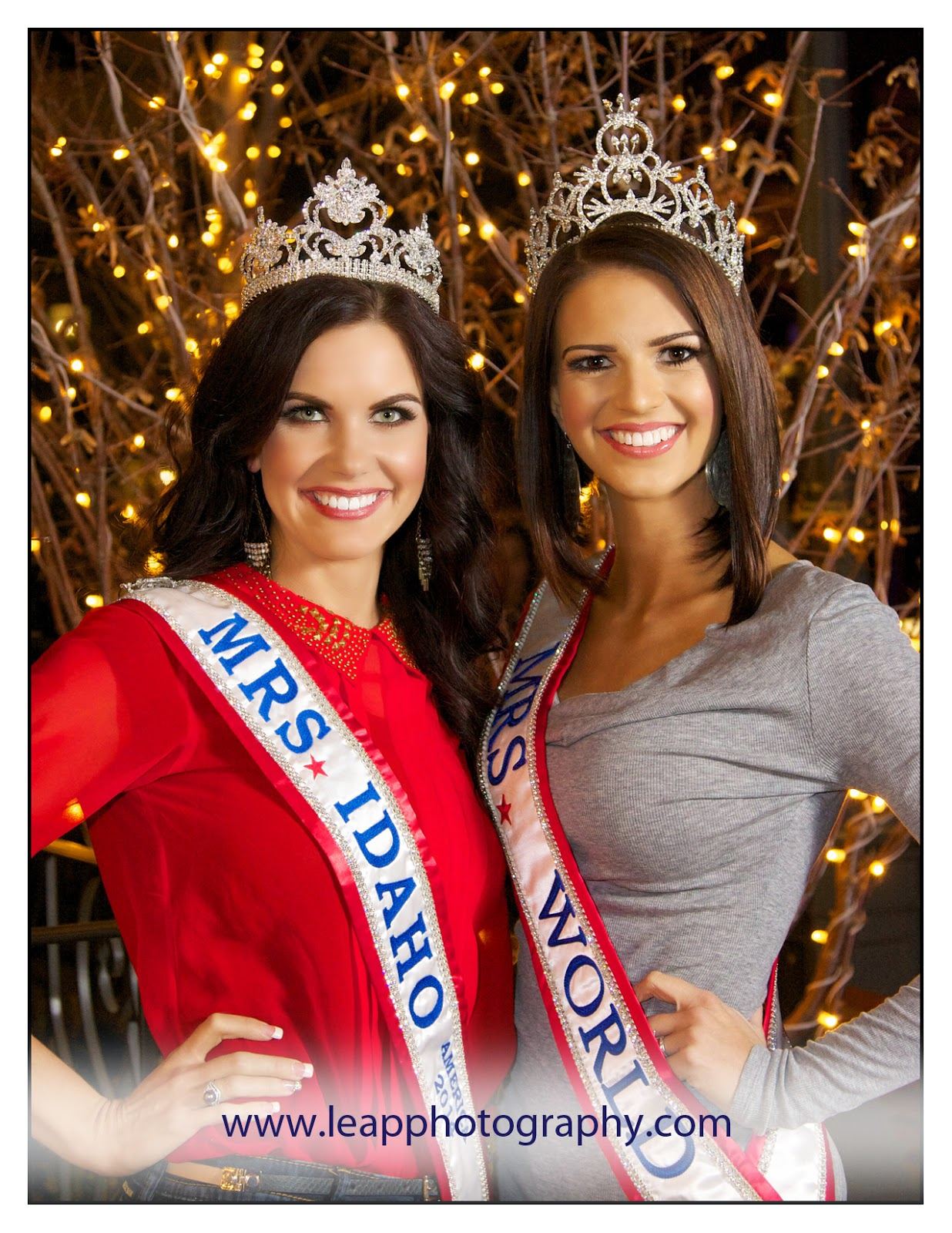 Mrs. Idaho & Mrs. World 2014 in front of twinkle lights