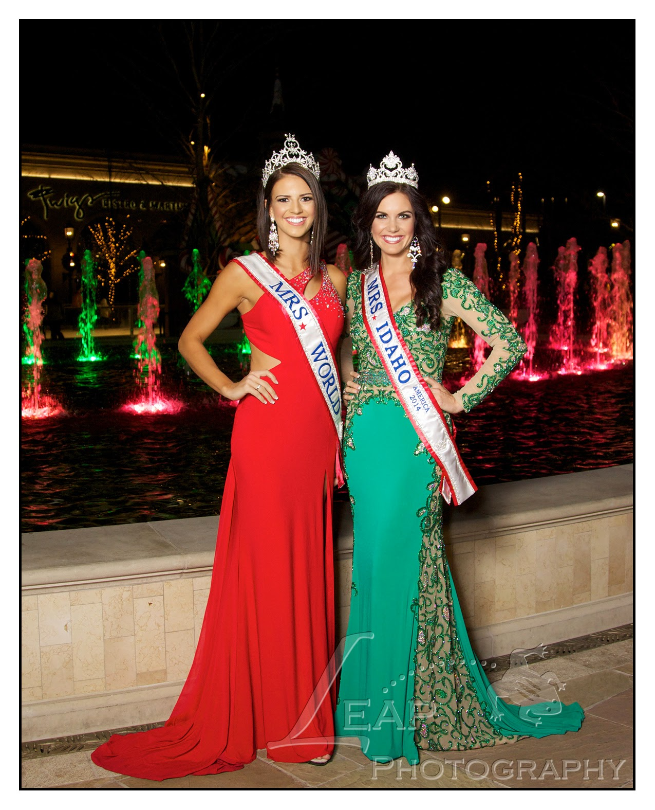 Mrs. Idaho & Mrs. World 2014 in front of water feature