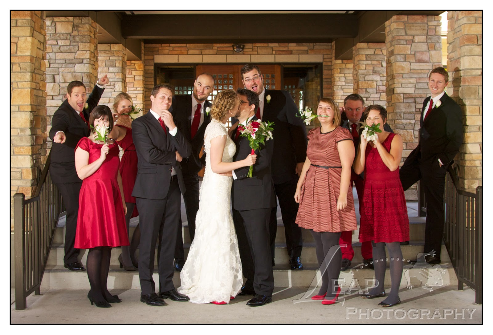 fun photo of the wedding party