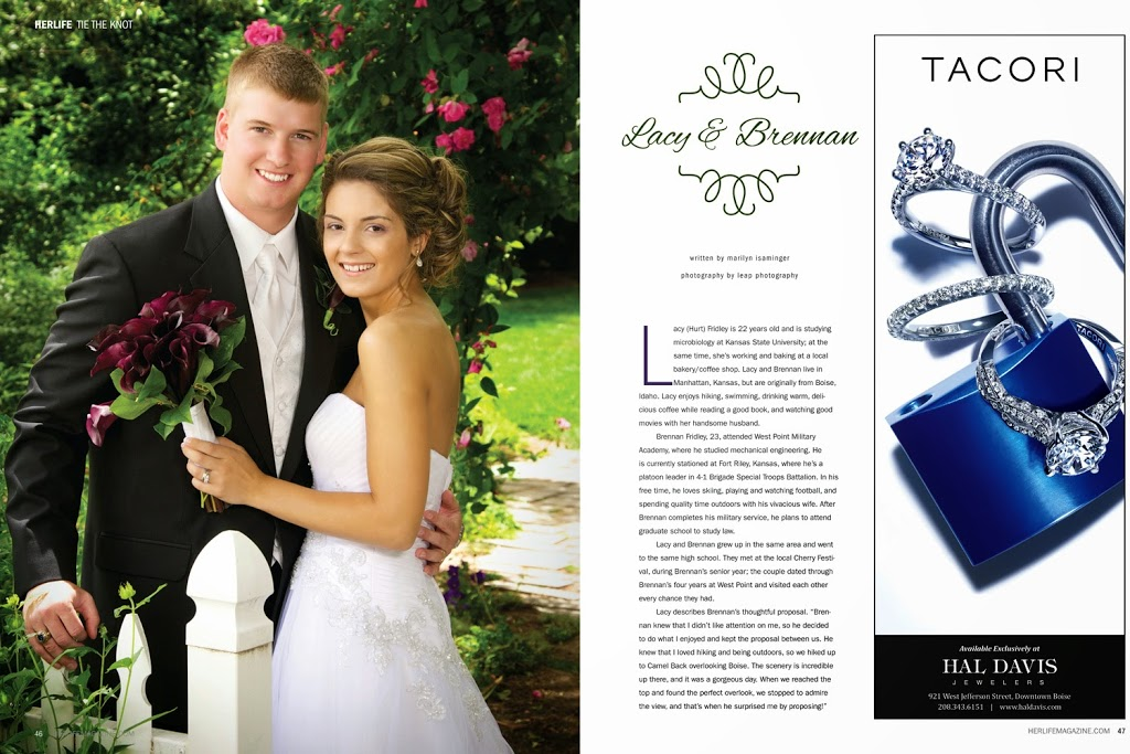 wedding photo in two page spread of HERLIFE Magazine