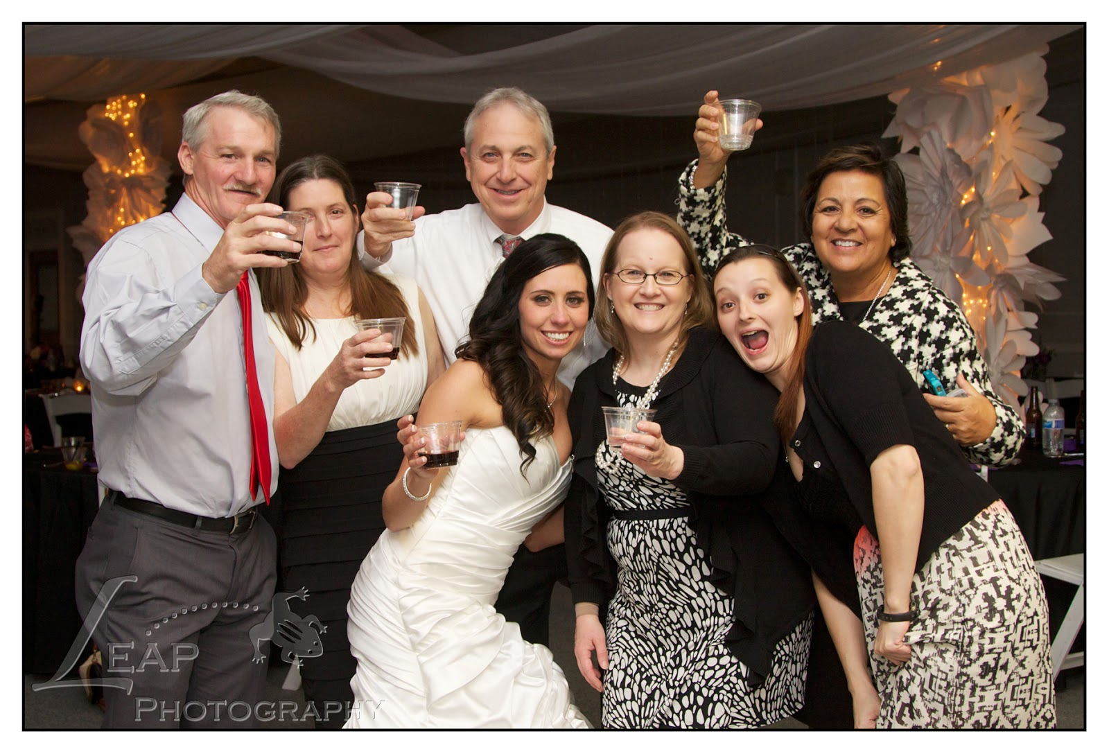group of guests at wedding, having a good time