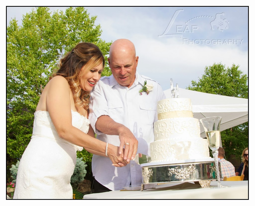 Bride and groom cutting cake at Boise wedding