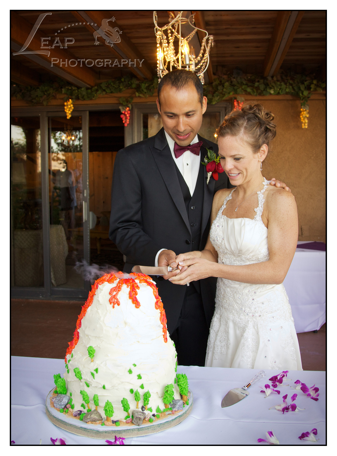 couple cutting volcano cake