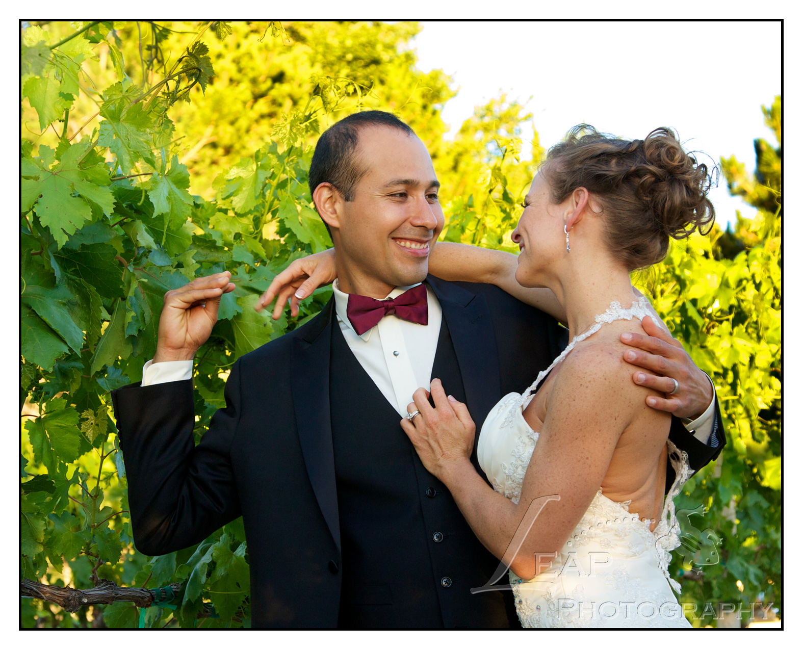bride & groom in vineyard