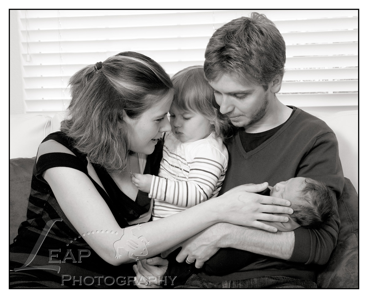 family portrait in Boise home