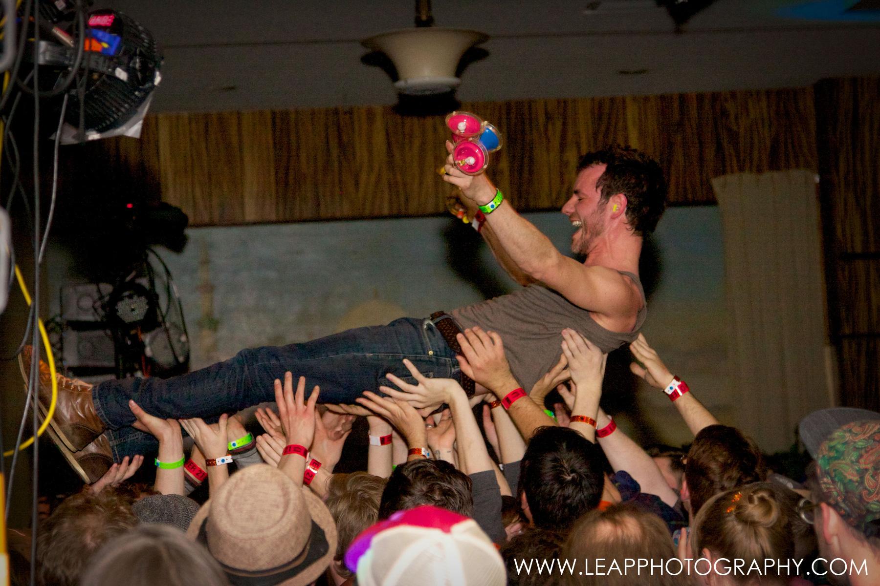 musician crowd surfs at the El Korah during Treefort 2014