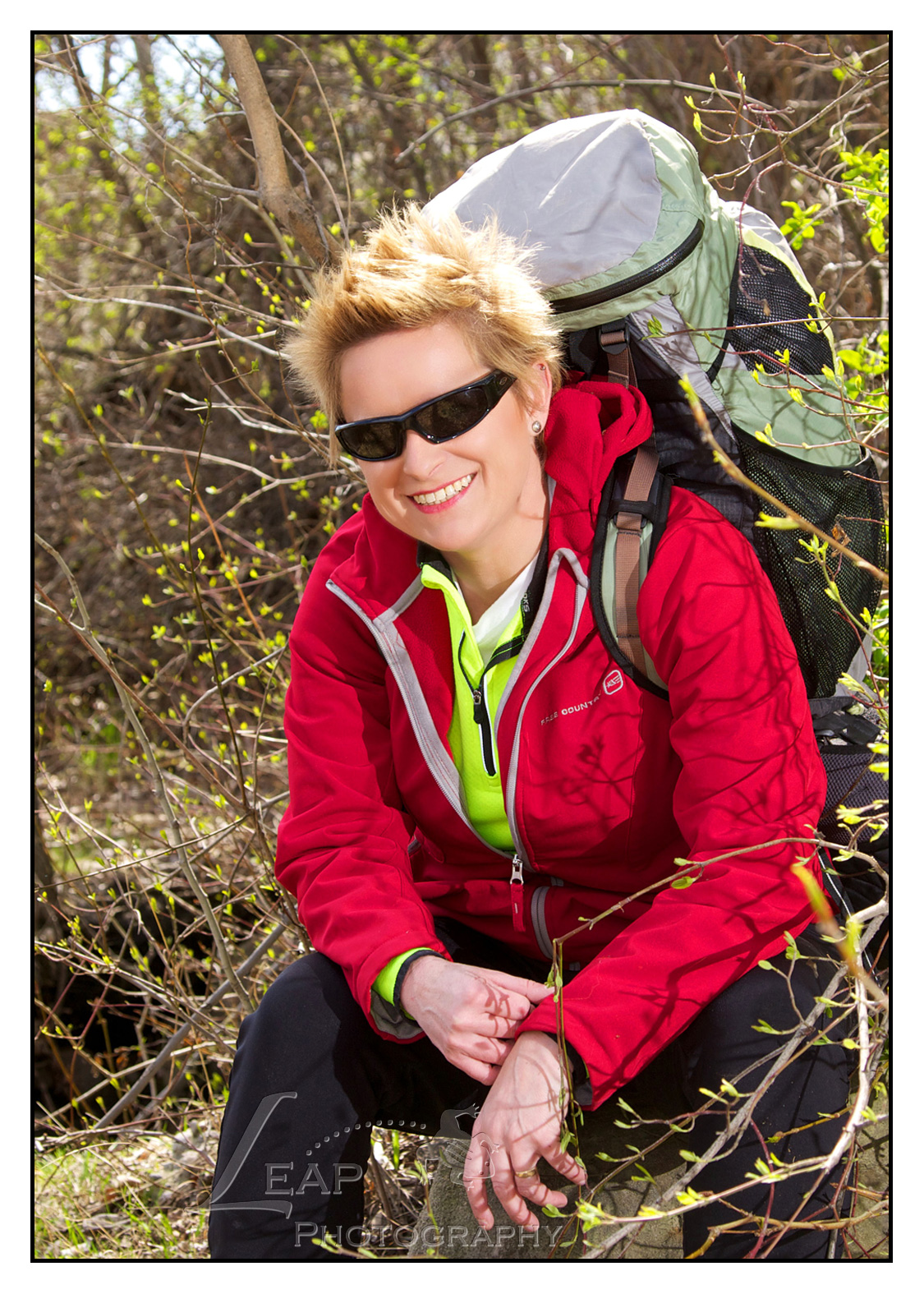woman dressed in hiking gear, on Boise River