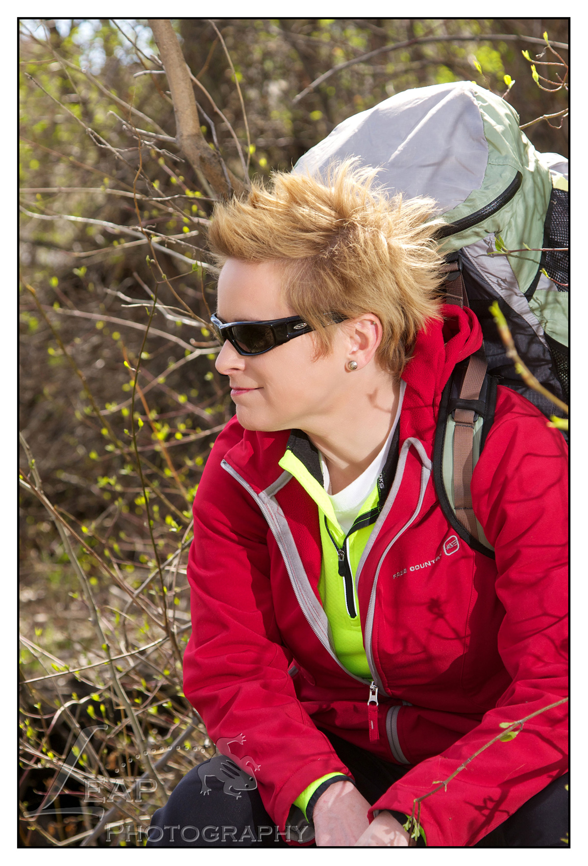 portrait of Boise, Idaho woman hiking on river
