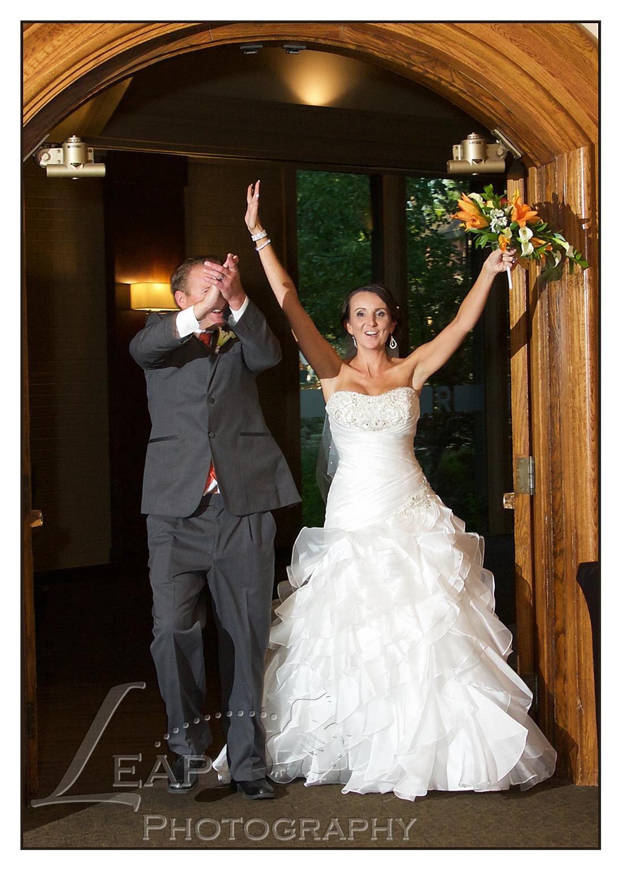 Boise couple entring their wedding reception
