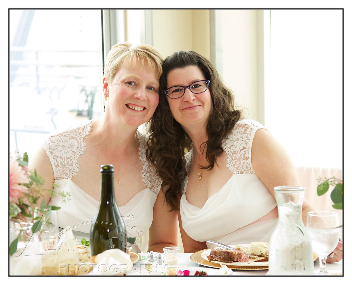 2 brides at wedding reception