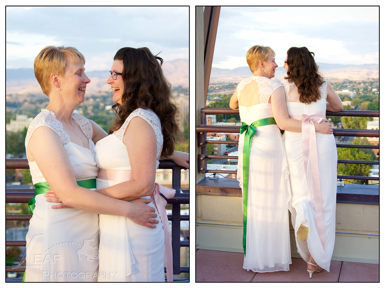photos of 2 brides on Boise rooftop