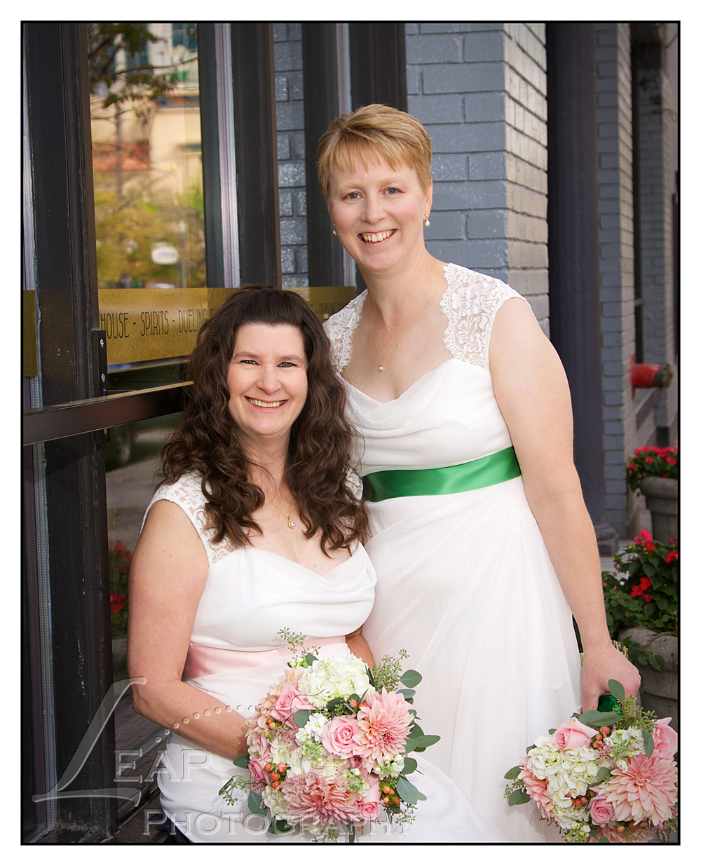 Brides in wedding gowns in downtown Boise