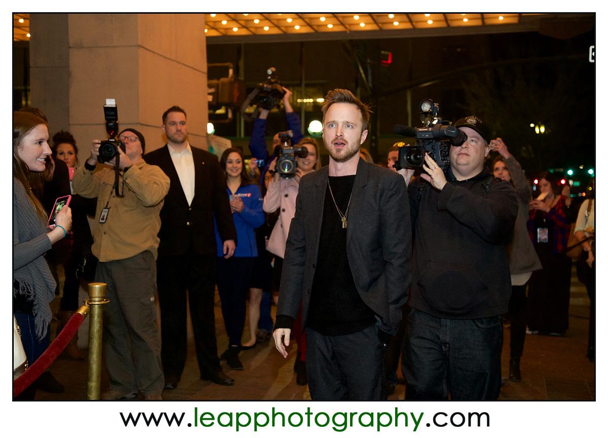 Aaron Paul arrives to Triple 9 Movie screening
