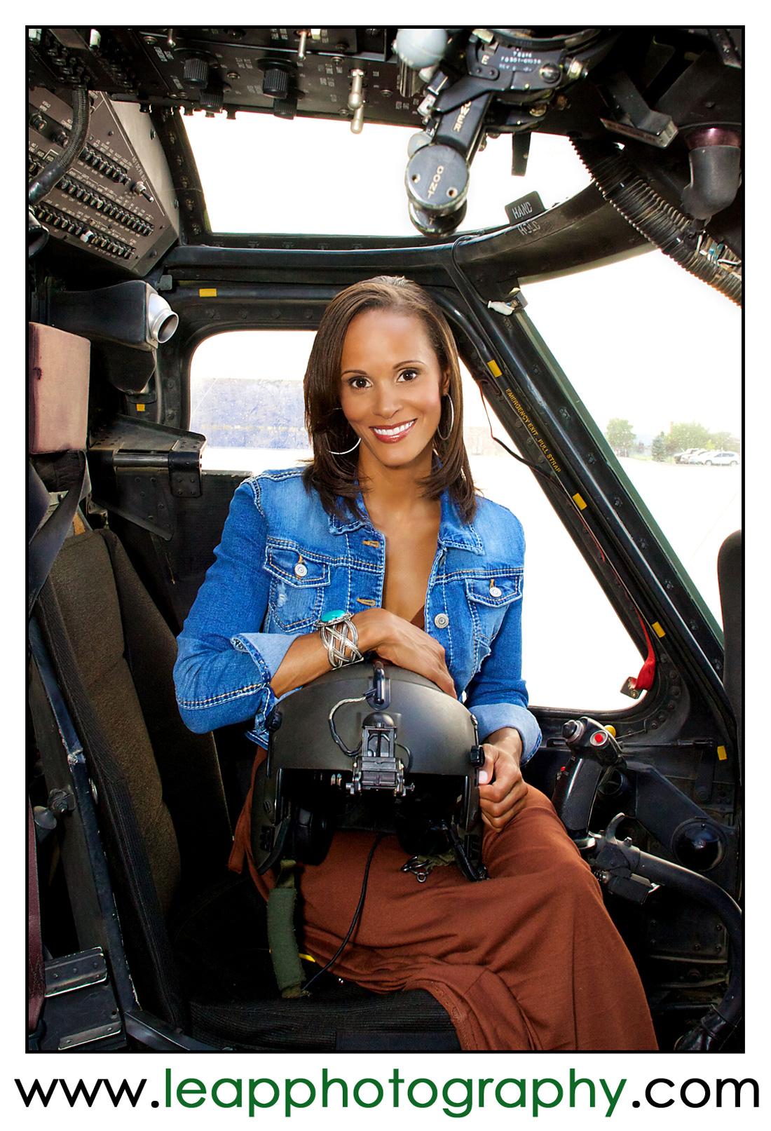 Portrait of Female Black Hawk pilot at Gowen field in Boise, ID