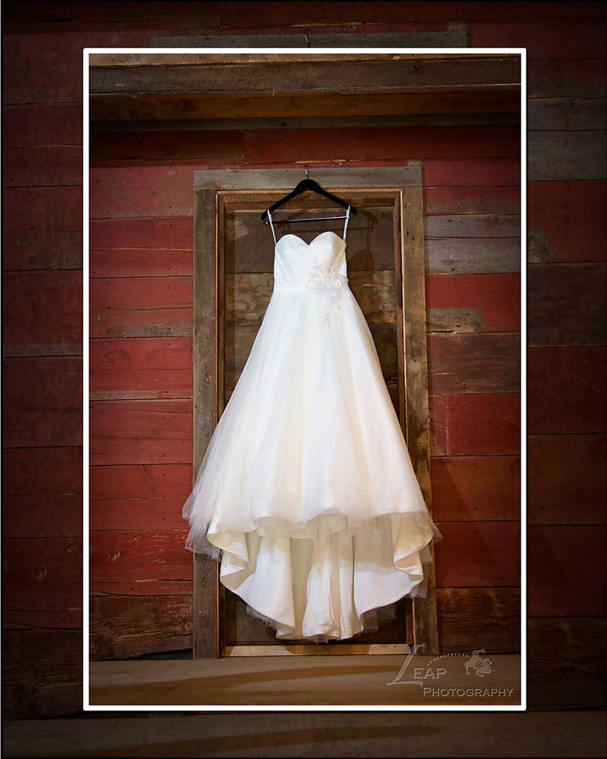 wedding dress on Idaho barn door