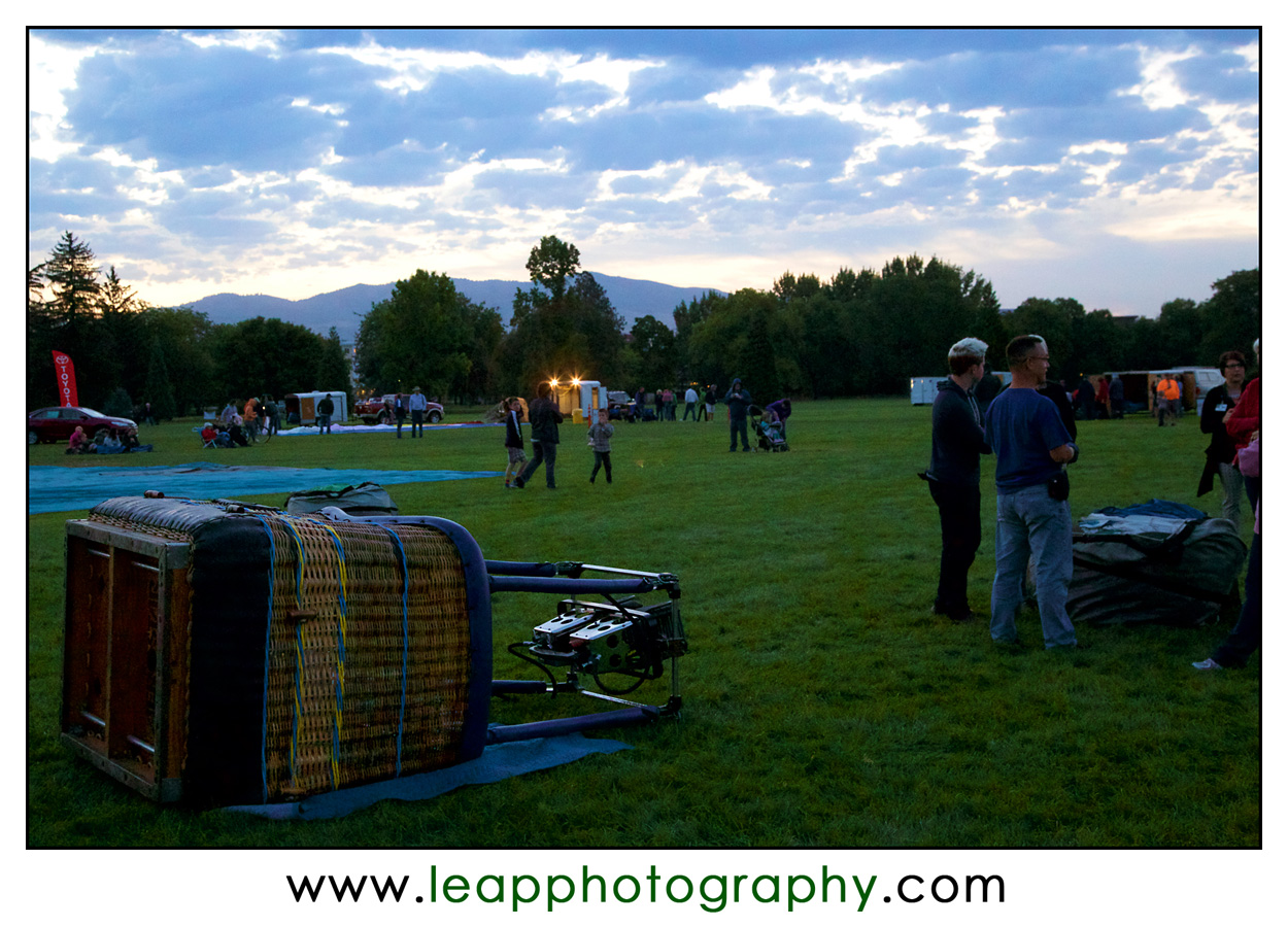 just before dawn at the Spirit of Boise Balloon Festival