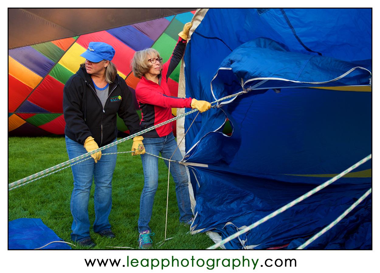 hot air balloon crew hard at work