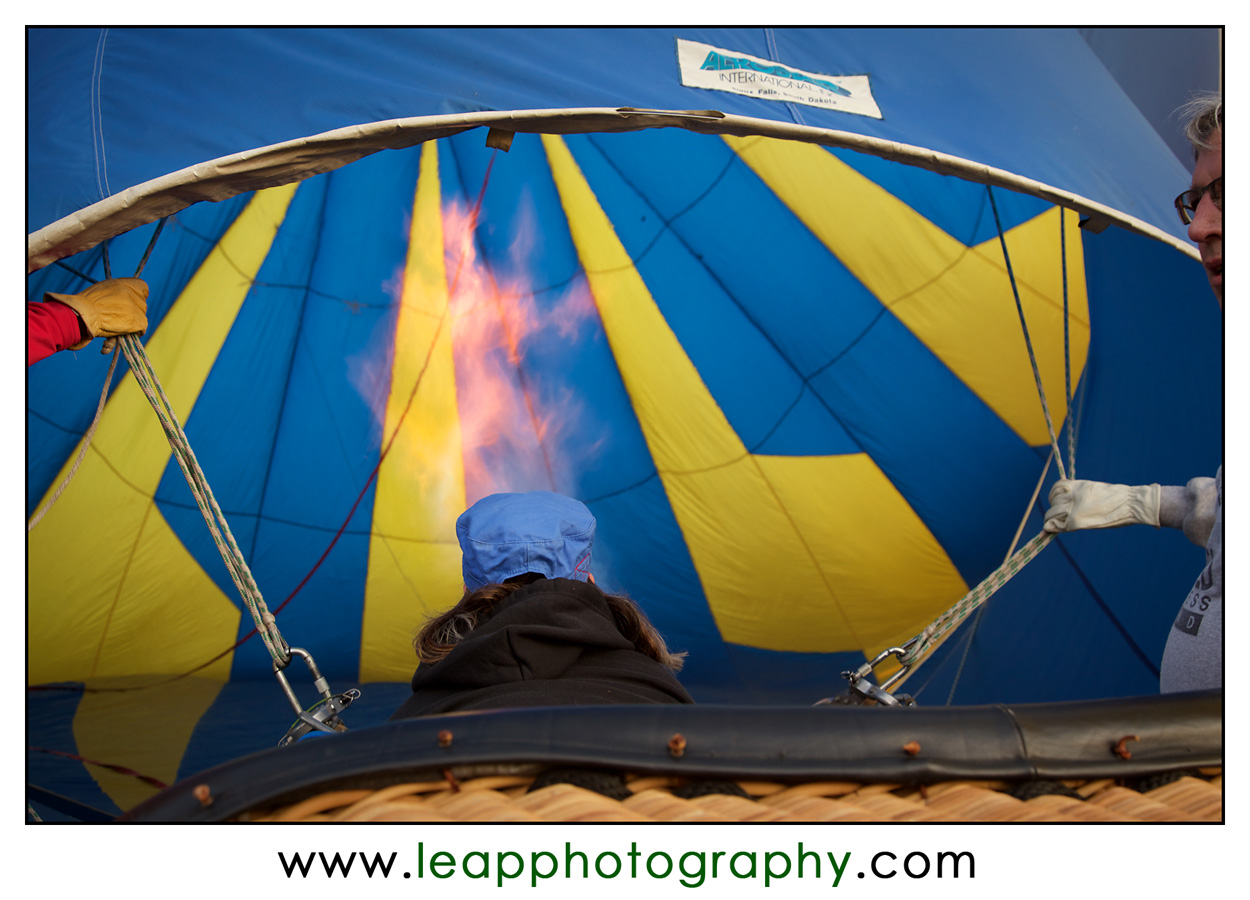 filling a hot air balloon with hot air