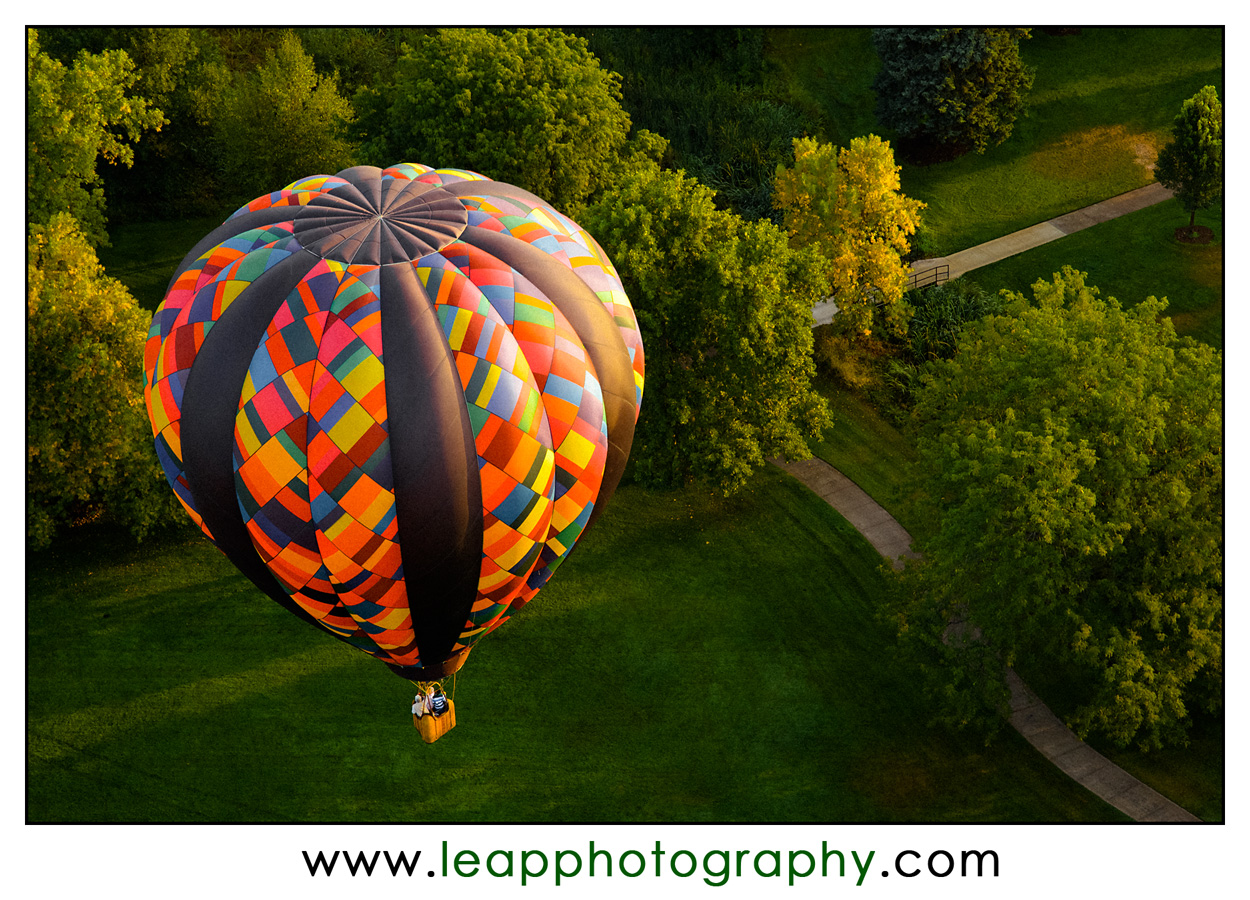 Looking down on a hot air balloon
