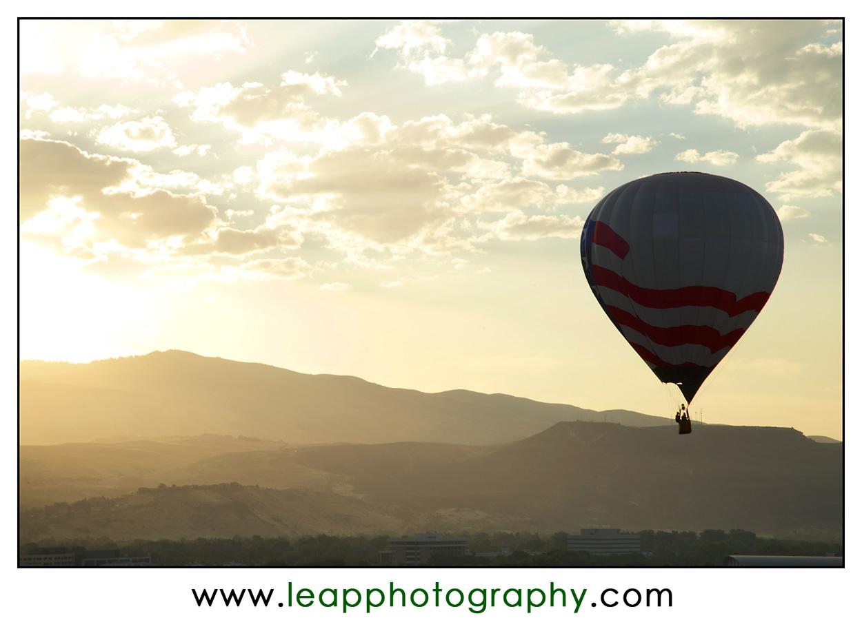 hot air balloon silouette in Boise Skyline