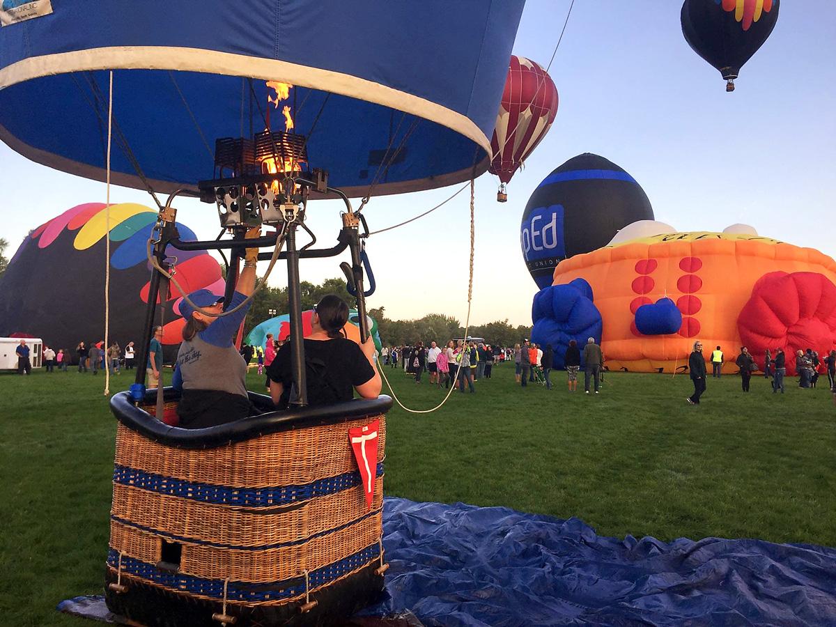 hot air balloon at take off