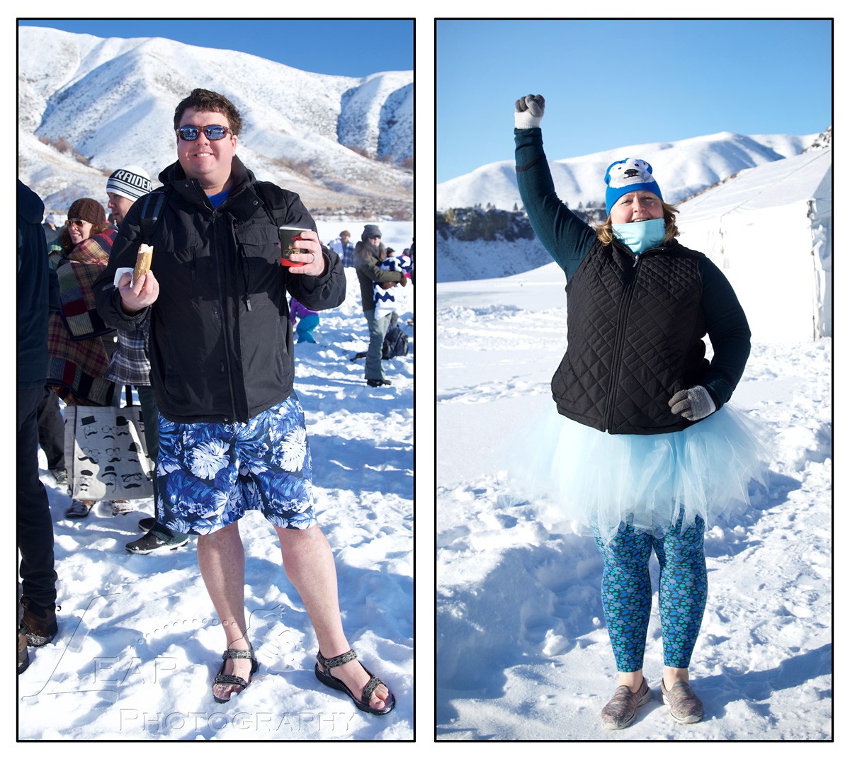two participants of the Polar Bear Plunge
