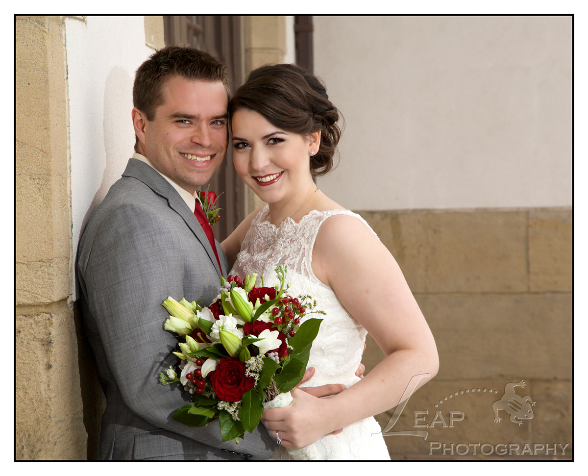 Bride and Groom outside Boise Train Depot