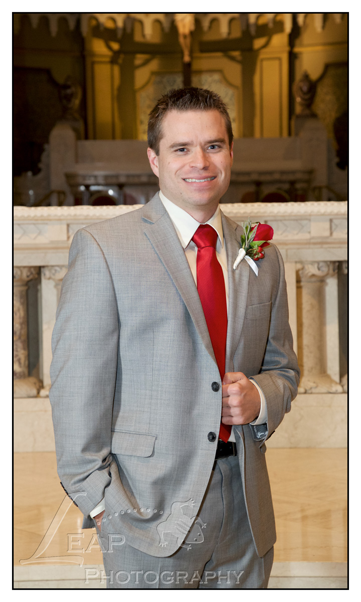 Picture of groom on church alter