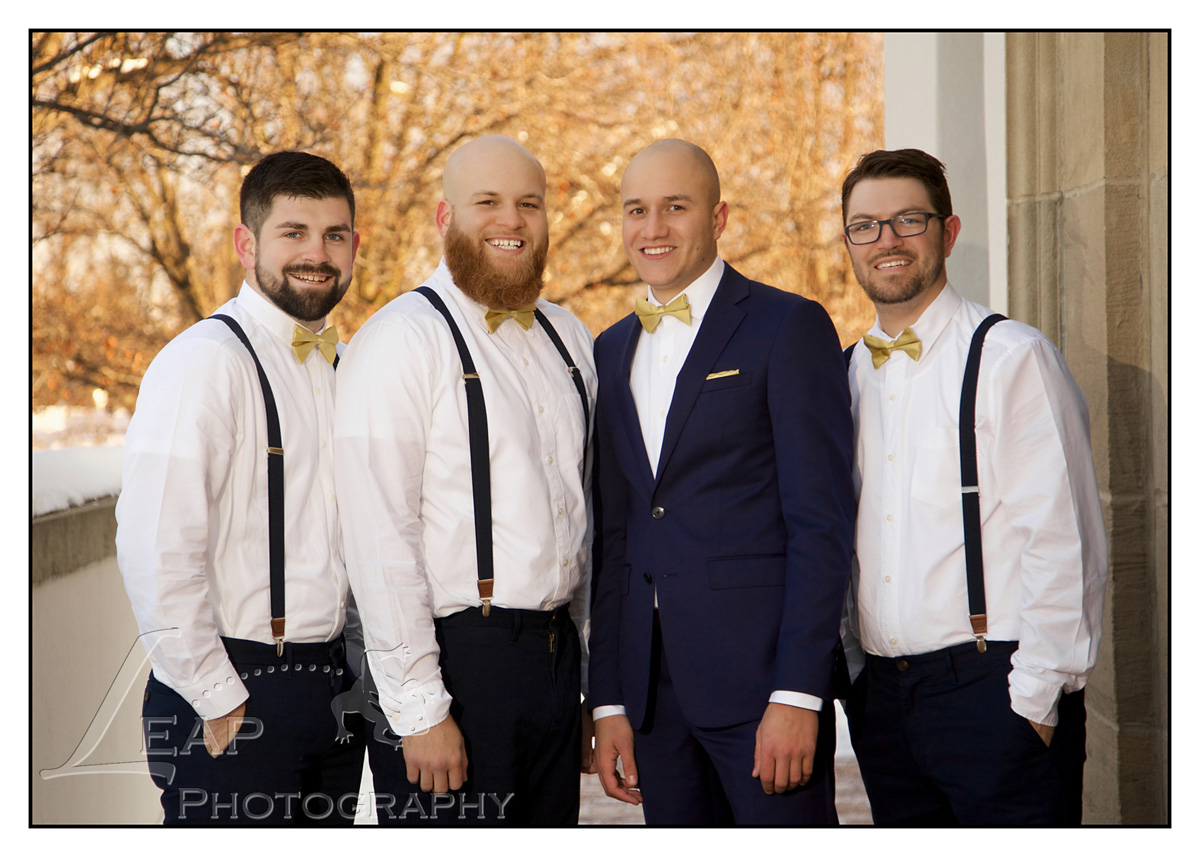 Groom and his groomsmen outside of the Boise Train Depot