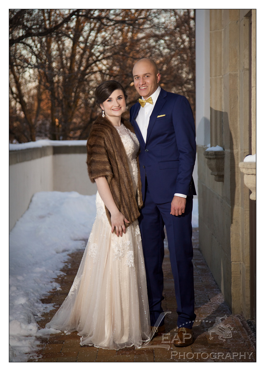 winter wedding photo at Boise Train Depot