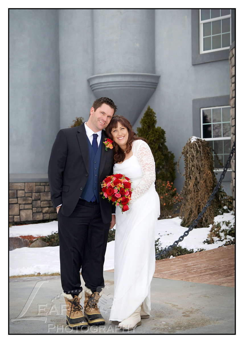 Wedding Photo of bride and groom on winter day