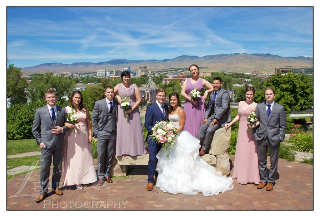 bridal party overlooking Boise, Idaho