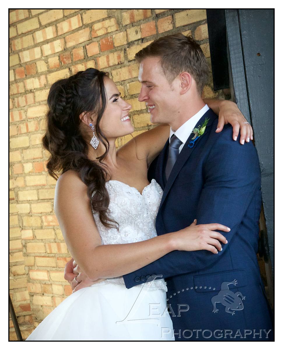 wedding photo taken in Bell Tower at Boise Train Depot