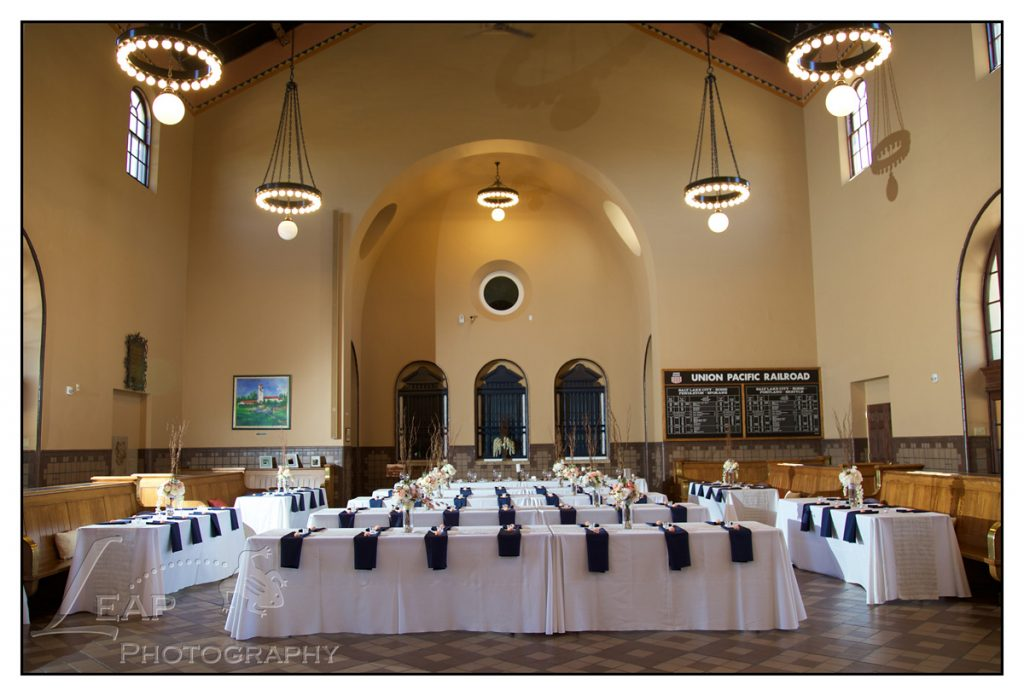 wedding decor at Boise Train Depot