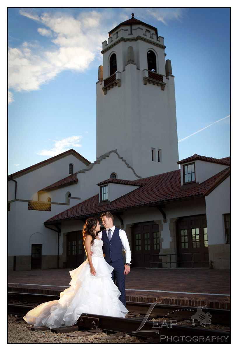 wedding photo taken on boise Train Depot Tracks